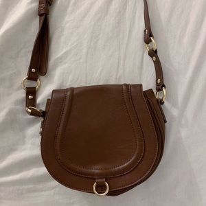 Small brown faux leather crossbody bag